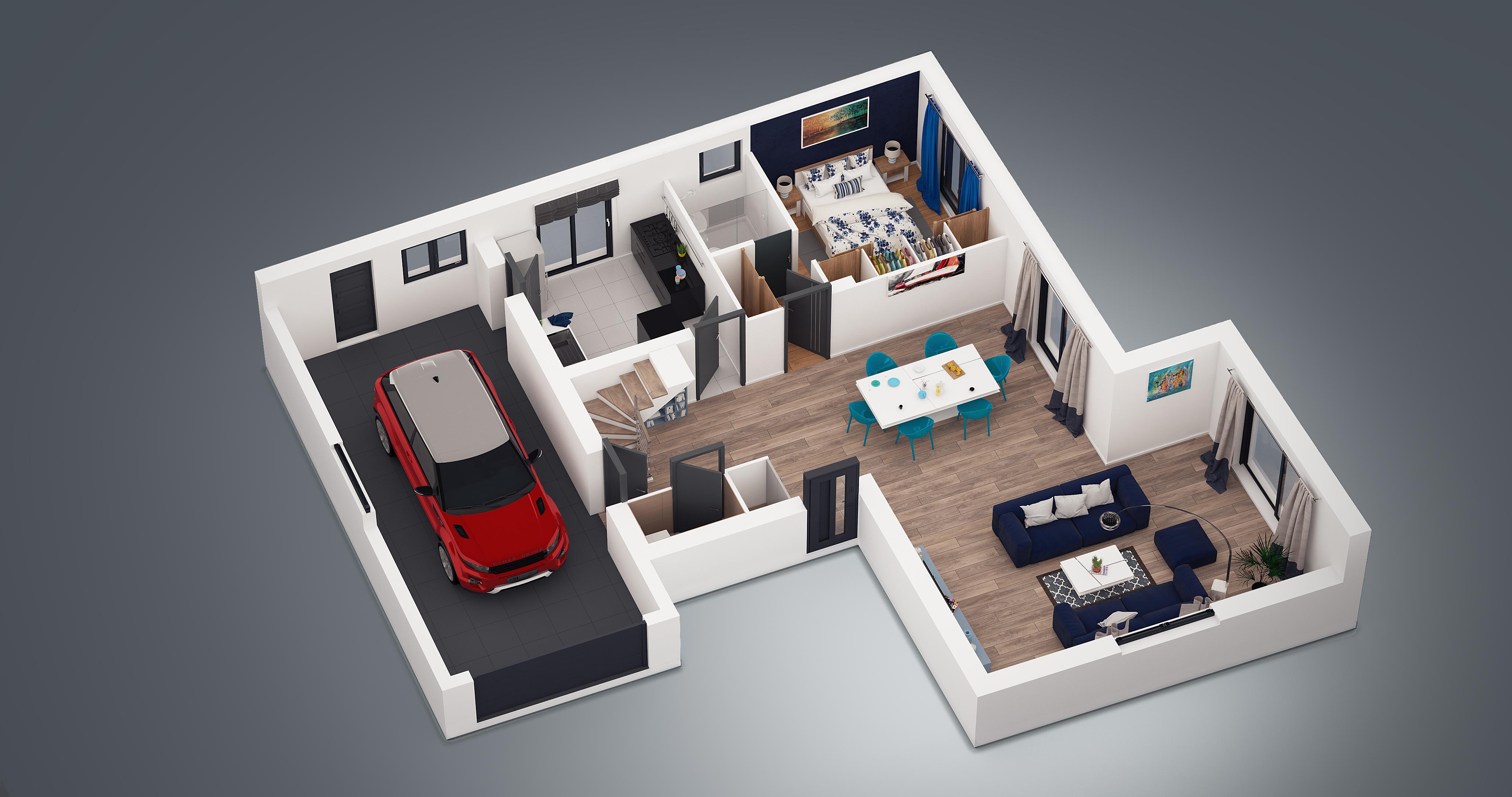 Plan maison 4 chambres 130m2 for Exterieur maison 3d